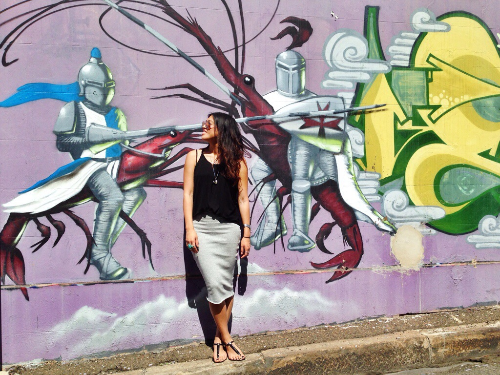 OOTD GRAFFITI STREET ART BANDAGE SKIRT GREY BLACK MONOCHROME ANNANDALE
