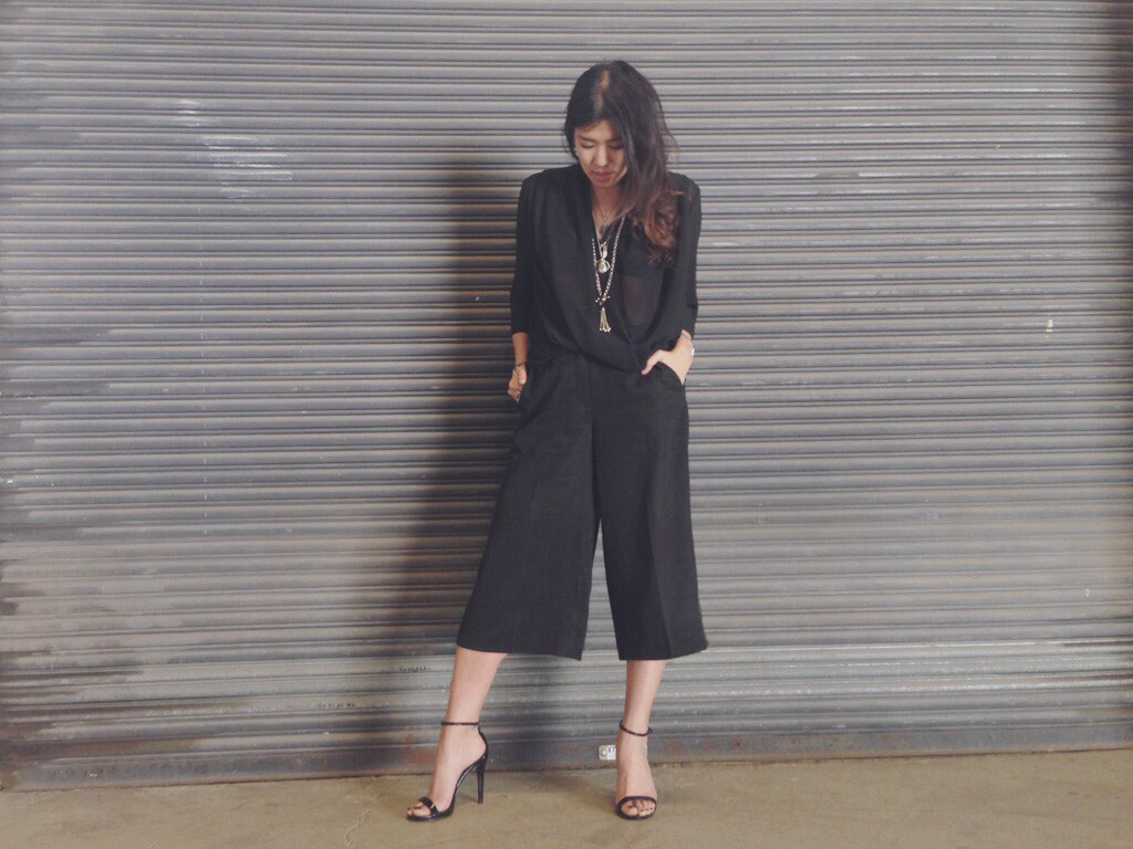 CULOTTES CROPPED WIDE LEG PANTS BLACK TREND JIGSAW