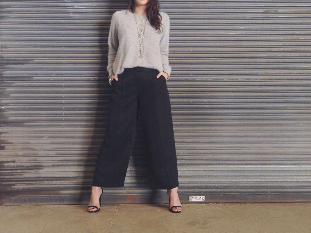 CULOTTES CROPPED WIDE LEG PANTS BLACK PLEATED TREND JIGSAW
