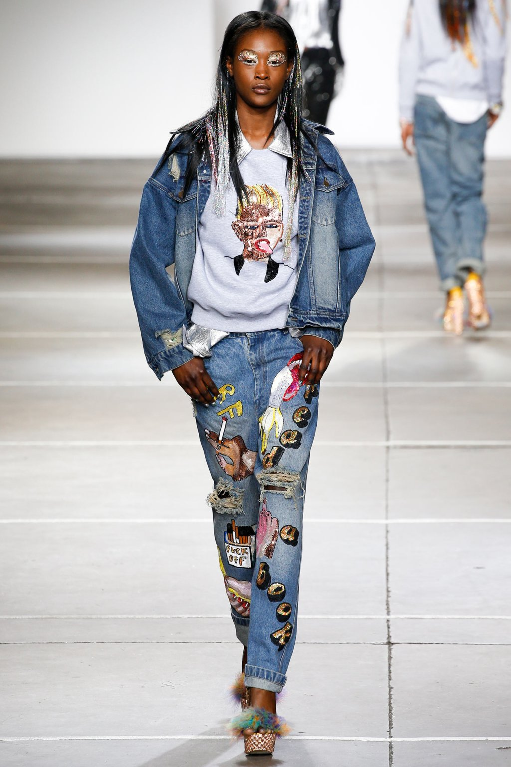 ASHISH DOUBLE DENIM MODEL SPRING SUMMER 2015 FASHION WEEK
