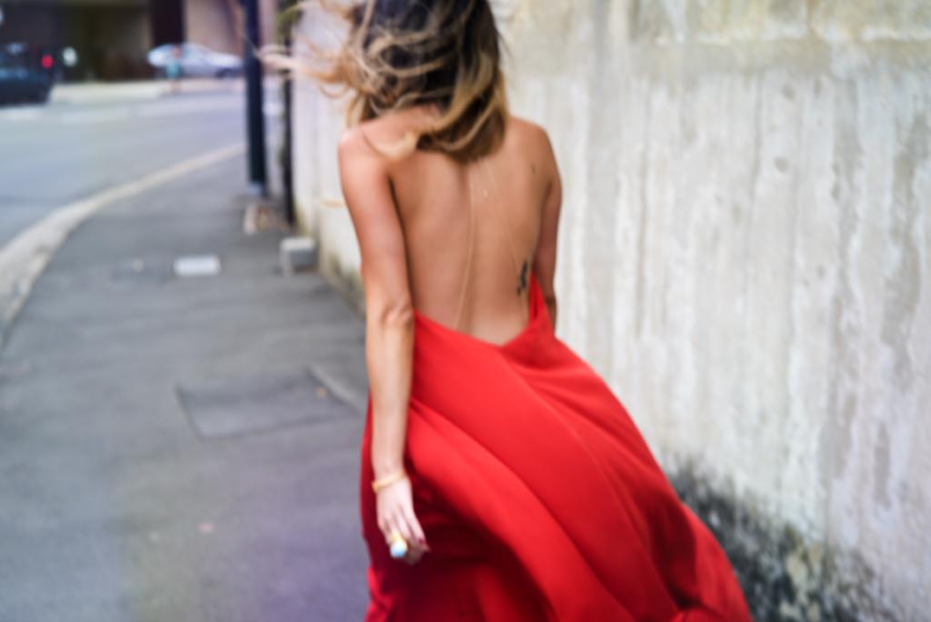 RED SILK DRESS OOTD