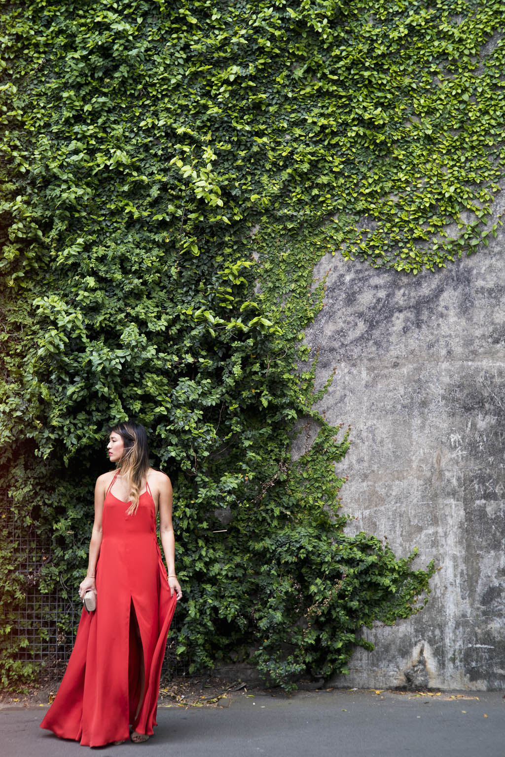 RED SILK DRESS OOTD