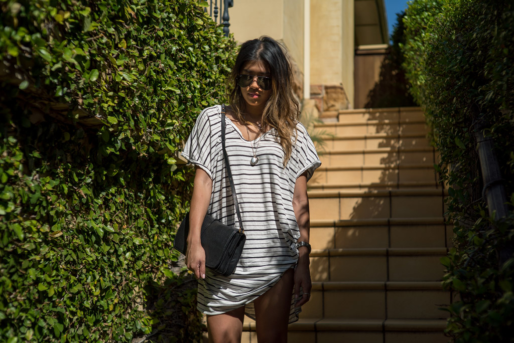 BASSIKE AUSTRAILIA LOCAL LABEL STRIPE TSHIRT DRESS