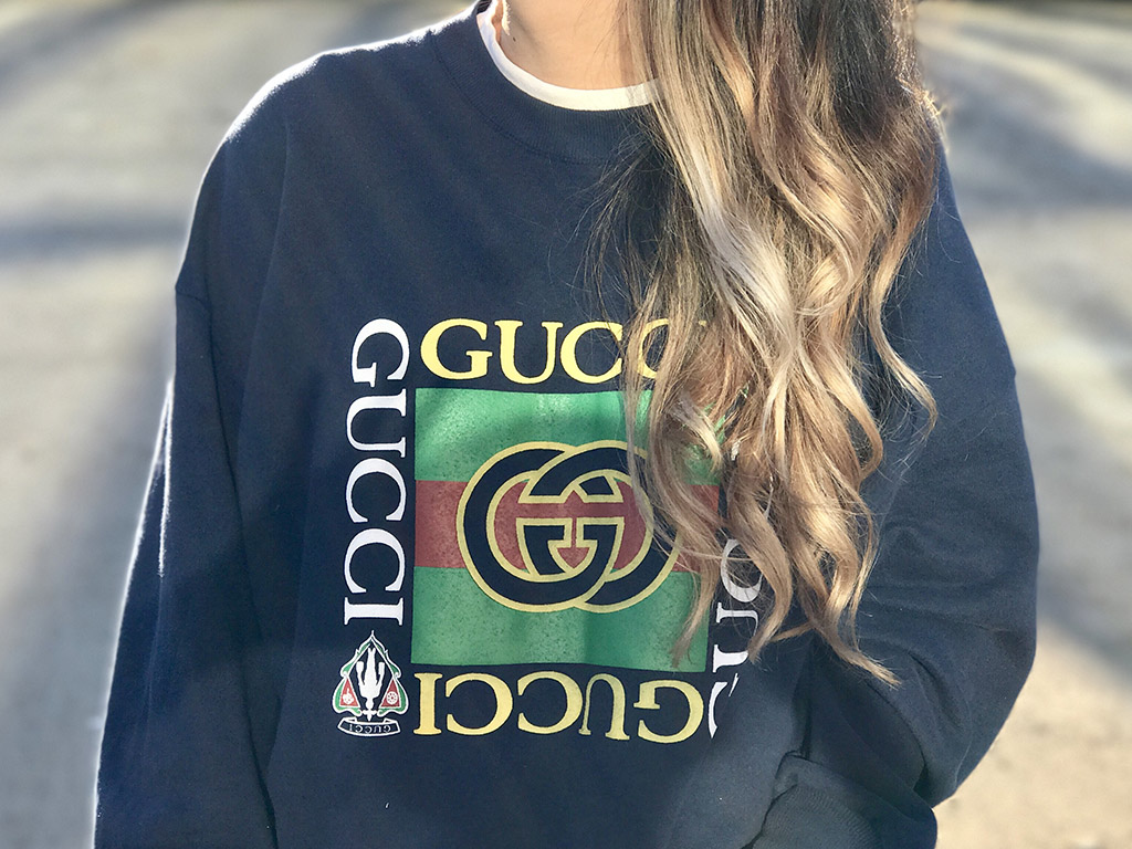 Gucci Vintage Bootleg Sweatshirt and OneTeaspoon Skirt